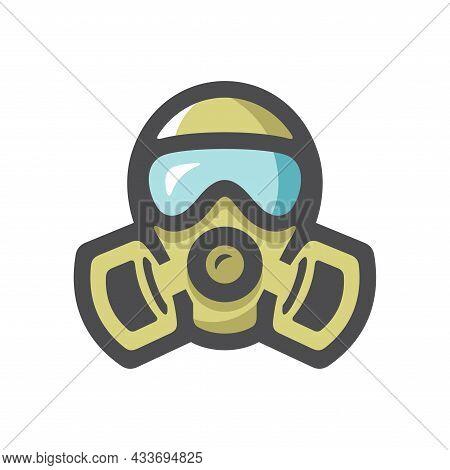 Gas Mask Respirator Vector Icon Cartoon Illustration