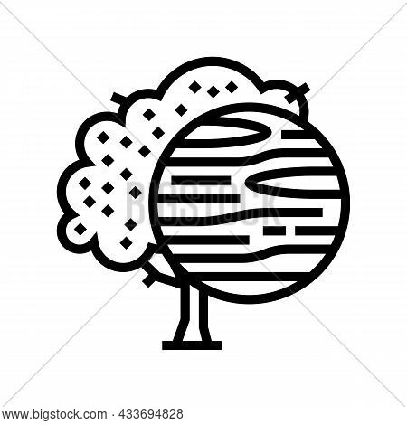 Cherry Wood Line Icon Vector. Cherry Wood Sign. Isolated Contour Symbol Black Illustration