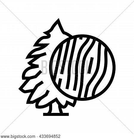 Cedar Wood Line Icon Vector. Cedar Wood Sign. Isolated Contour Symbol Black Illustration