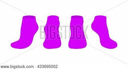 Purple Socks Template Mockup Flat Style Design Vector Illustration Set Isolated On White Background.
