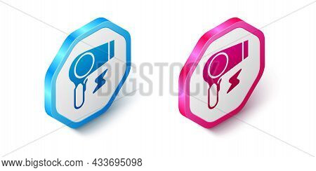 Isometric Hair Dryer Icon Isolated On White Background. Hairdryer Sign. Hair Drying Symbol. Blowing