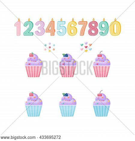 A Cute Set For Designing Cupcakes With Candles, Numbers And Decor And Blueberries, Cherries And Stra