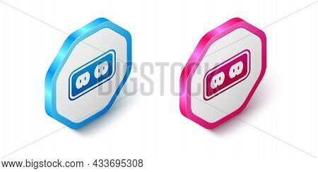 Isometric Electrical Outlet Icon Isolated On White Background. Power Socket. Rosette Symbol. Hexagon