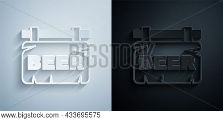 Paper Cut Street Signboard With Inscription Beer Icon Isolated On Grey And Black Background. Suitabl