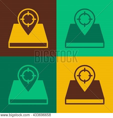 Pop Art Hunt Place Icon Isolated On Color Background. Navigation, Pointer, Location, Map, Gps, Direc
