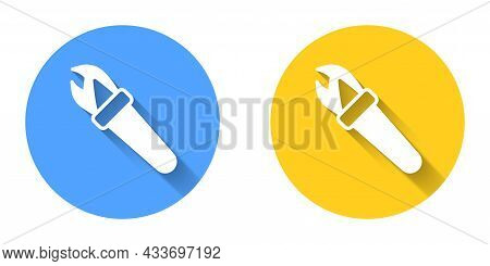 White Torch Flame Icon Isolated With Long Shadow Background. Symbol Fire Hot, Flame Power, Flaming A