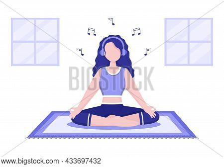 Relax Or Yoga With Crossed Legs, Closed Eyes Meditating And Listening To Music At Home In Flat Carto