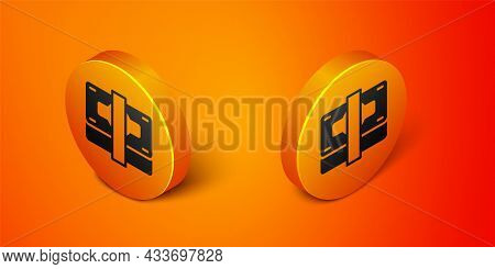 Isometric Stacks Paper Money Cash Icon Isolated On Orange Background. Money Banknotes Stacks. Bill C