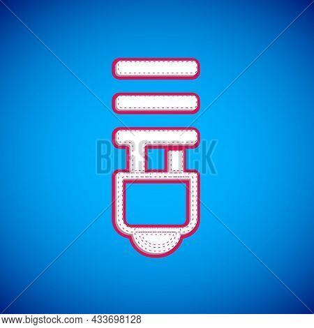 White Led Light Bulb Icon Isolated On Blue Background. Economical Led Illuminated Lightbulb. Save En
