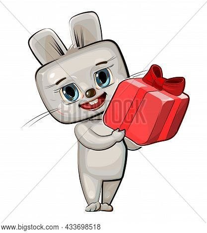 Baby Hare Carries A Gift To A Friend. Red Box With Ribbon And Bow. Summer Meadow With Flowers. Child