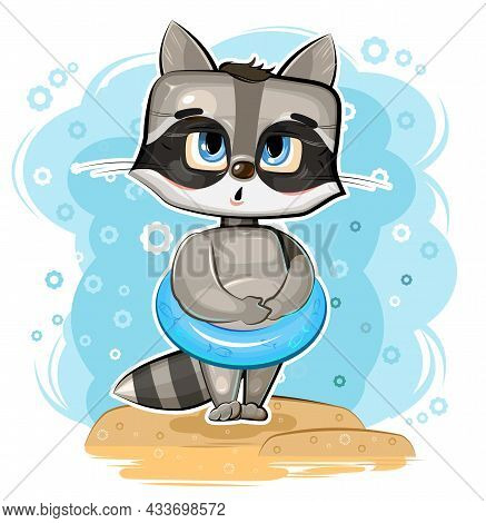 Cute Raccoon Got Ready To Swim In An Inflatable Ring On Beach. Funny Comic Baby Animal. Young Cute C