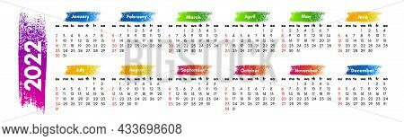 Calendar For 2022 Isolated On A White Background. Sunday To Monday, Business Template. Vector Illust