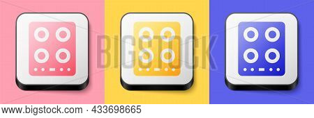 Isometric Gas Stove Icon Isolated On Pink, Yellow And Blue Background. Cooktop Sign. Hob With Four C