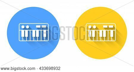 White Music Synthesizer Icon Isolated With Long Shadow Background. Electronic Piano. Circle Button.