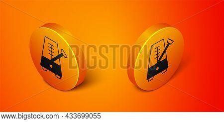 Isometric Classic Metronome With Pendulum In Motion Icon Isolated On Orange Background. Equipment Of