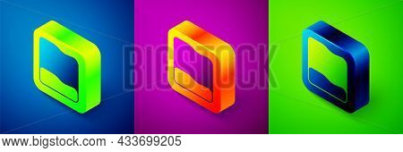 Isometric Rectangular Pillow Icon Isolated On Blue, Purple And Green Background. Cushion Sign. Ortho