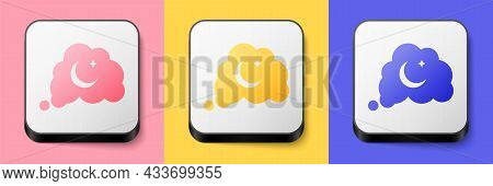 Isometric Dreams Icon Isolated On Pink, Yellow And Blue Background. Sleep, Rest, Dream Concept. Rest