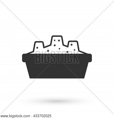 Grey Sandbox For Kids With Sand Icon Isolated On White Background. Vector