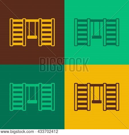 Pop Art Wooden Swedish Wall Icon Isolated On Color Background. Swedish Stairs. Vector