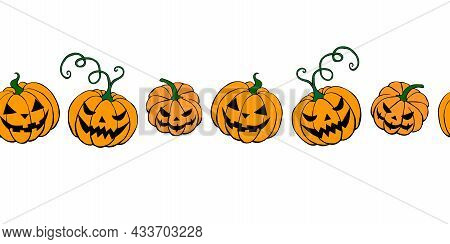 Edging, Ribbon, Border Of Simple Scary Spooky Smiling Pumpkins, Jack Lantern. Vector Seamless Patter