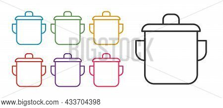 Set Line Cooking Pot Icon Isolated On White Background. Boil Or Stew Food Symbol. Set Icons Colorful