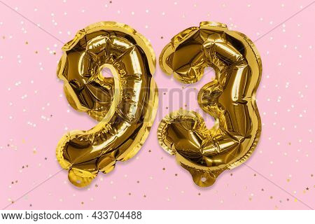 The Number Of The Balloon Made Of Golden Foil, The Number Ninety-three On A Pink Background With Seq