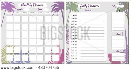 Daily, Monthly, Planner Set Template Vector. Palms Floral Decoration Background, Schedule, To Do Lis