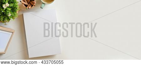 Blank White Book Cover And Copy Space For Montage On White Background