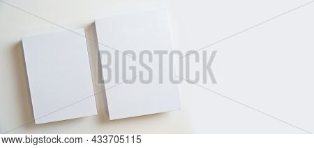 Two Of Blank Books Cover With Empty Space Over White Background