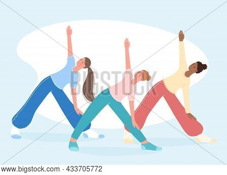 Group Aerobics, Fitness And Yoga Classes. People Stand In Triangle Pose Trikonasana. Healthy Lifesty