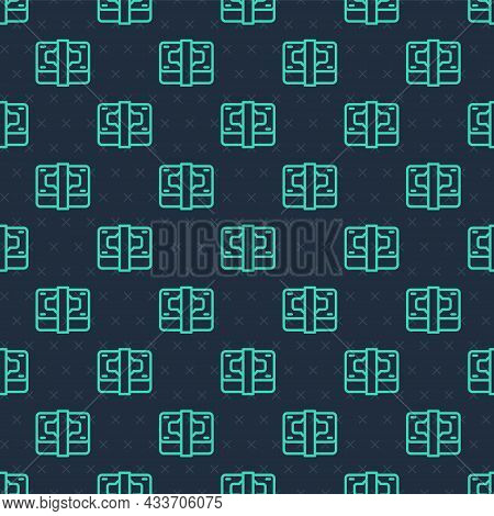 Green Line Stacks Paper Money Cash Icon Isolated Seamless Pattern On Blue Background. Money Banknote