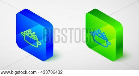 Isometric Line Cooking Pot Icon Isolated On Grey Background. Boil Or Stew Food Symbol. Blue And Gree