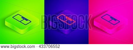 Isometric Line Refrigerator Icon Isolated On Green, Blue And Pink Background. Fridge Freezer Refrige