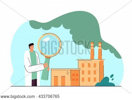Ecologist With Magnifier Analyzing Factory Emissions. Industrial Building Causing Air Pollution Flat