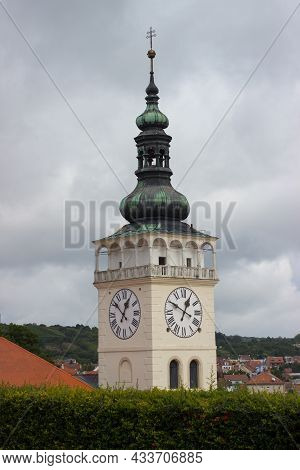 Church Tower Of Saint Wenceslas In Mikulov. In The Background Is Sky With Cluods.