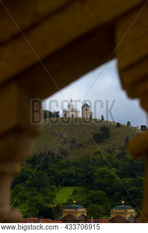 Holy Hill In Mikulov. View Over The Railing From The Castle Stairs.