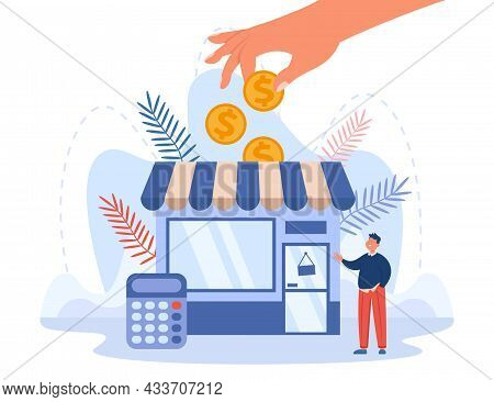 Government Or Business Partner Giving Grant To Bankrupt Man. Shop Owner Getting Subsidy Flat Vector