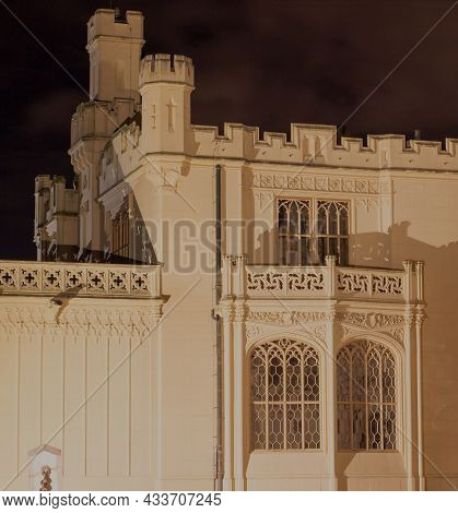 Castle Lednice At Night. The Castle Was Inscribed On The Unesco List In 1996. Lednice-valtice Area.