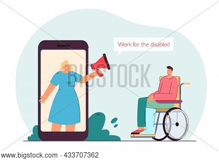 Employer On Huge Phone Screen Hiring Disabled Man On Wheelchair.  Searching For Job Flat Vect