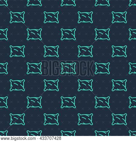 Green Line Rectangular Pillow Icon Isolated Seamless Pattern On Blue Background. Cushion Sign. Ortho