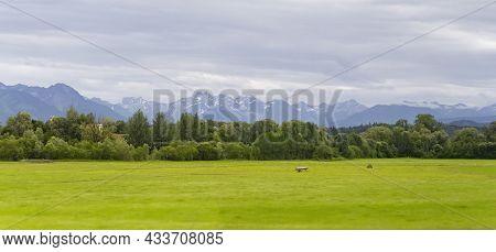 Idyllic Panoramic Scenery At The Allgaeu Region In Swabia, Germany