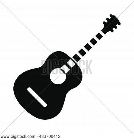 Acoustic Guitar Icon. Black Stencil Design. Vector Illustration.