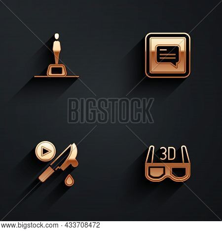 Set Movie Trophy, Video With Subtitles, Thriller Movie And 3d Cinema Glasses Icon With Long Shadow.