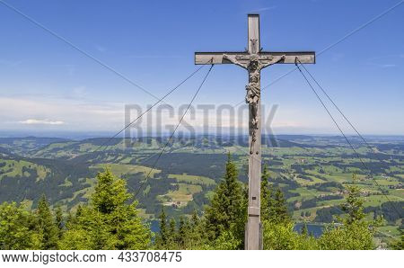 Idyllic Aerial View Including A Wooden Crucifix Seen From The Immenstaedter Horn Around Immenstadt A