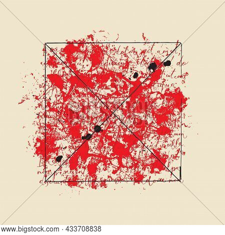 Vector Banner With Handwritten Text Lorem Ipsum And Abstract Red Spots On An Old Paper Background In