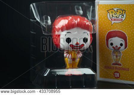 Bangkok, Thailand - September 22, 2021 : Funko Pop Icons Mcdonald's Ronald Mcdonald Thailand Exclusi