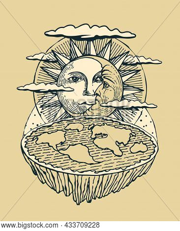 Hand-drawn Banner With Flat Earth, The Sun And Moon. Old Vision Of Planet And Solar System. Alternat