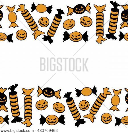Background, Frame Of Candy In Different Wrappers In Halloween Style . Horizontal Top And Bottom Edgi