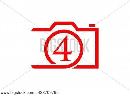 Photography Logo Design On Letter 4. Letter 4 Photography Logo Design. Camera Logo Design Inspiratio