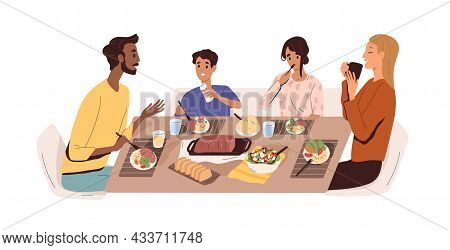 Family With Kids Eating Home Food At Dining Table. Father, Mother And Children At Dinner. Happy Pare
